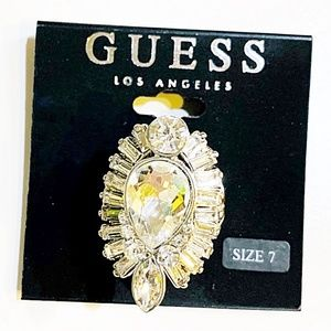GUESS Silver Rhinestone Cocktail Ring, Size 7